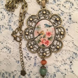 Sierra Bamboo Jewelry - Long Dramatic BOHO Statement Necklace. Song Birds.